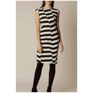 KAREN MILLEN Block-Stripe Dress Black White Size 6